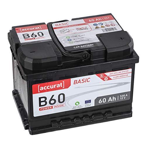 Accurat Autobatterie B60 Basic 12V 60Ah 510A wartungsfreie Blei/Calcium Nassbatterie/Starter, hohe Kaltstartkraft Kapazität für Mittelklassfahrzeuge