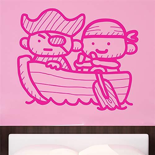stickers muraux citations famille Pirates en bateau pour chambre d'enfants