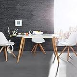 CAGÜ Design Retro Lounge ESSTISCH [Göteborg] Weiss-Eiche 120cm x 80cm im SKANDINAVISCHEN Stil, Neu!