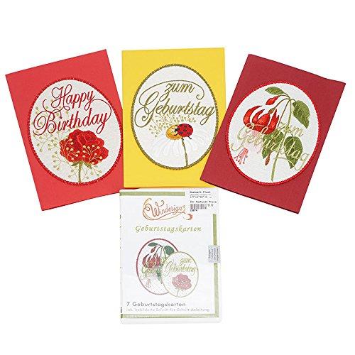 Windesign Stickmuster-Vorlagen CD, Motiv Geburtstagskarten, 7 Stickvorlagen, Freistehende Spitzenstickerei, Stick-Software, Doodle-Stitching Stickdateien für Brother, Bernina, Babylock, Pfaff