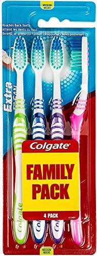 COLGATE Brosse à Dents Extra Ckean Medium, 4 unités