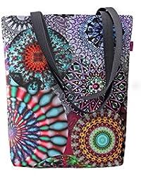 Große Damen Tasche Handtasche Umhängetasche Filz Grau Aufdruck Motiven NESI Circle Bertoni xi8m70lr