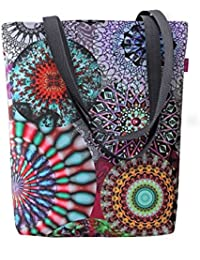 Große Damen Tasche Handtasche Umhängetasche Filz Grau Aufdruck Motiven NESI Circle Bertoni