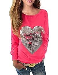 WanYang Mujeres Lentejuela Blusa Camisa Manga Larga Camiseta Top T Shirt  Blouse Gran Tamaño ba8654d1873
