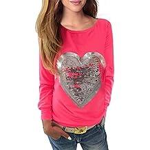 WanYang Mujeres Lentejuela Blusa Camisa Manga Larga Camiseta Top T Shirt Blouse Gran Tamaño
