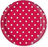 Rot Punkte Set Pappteller Groß 23cm