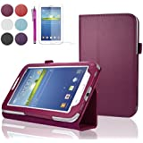 "SAVFY Samsung Galaxy Tab 3 7.0 7-inch Leather Case Cover and Flip Stand, Bonus: + Screen Protector + Stylus Pen + SAVFY Cleaning Cloth (for Galaxy Tab 3 7"" INCH P3200/ P3210, WiFi or 3G+WiFi) (flip stand HOT PINK)"
