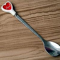amor colorido de hielo con forma de corazón crema cuchara manejar vajilla de cerámica cubiertos de acero inoxidable revuelo creativo postre té café cuchara
