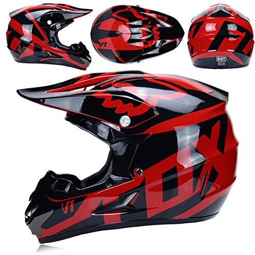 Casco Moto, Casco Fuoristrada Fox Adulto, Casco da Downhill Casco da Bici Downhill MX ATV/Casco da Moto, Guanti Regalo/oculari/Maschere,B,XL