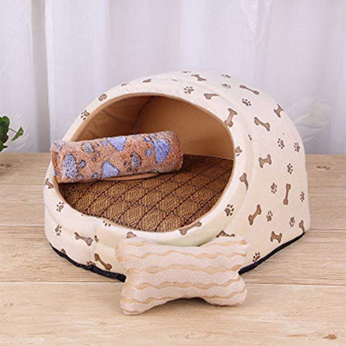 LTYZA Haustier Hundebett Erwärmung Hundehütte Weiches Material Nest Hunde Körbe Katze Decke Kleine Hundebetten für Welpen Chihuahua,D,M -