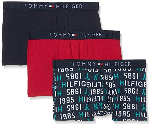 Tommy Hilfiger Herren Retroshorts 3p Trunk 1985 Weiß (Navy Blazer/tango Red/navy Blazer)
