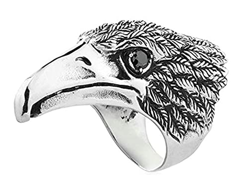 Aooaz 316L Stainless Steel Mens Ring Bands Eagle Head Black Size Z 1/2 Punk Gothic Vintage Novelty