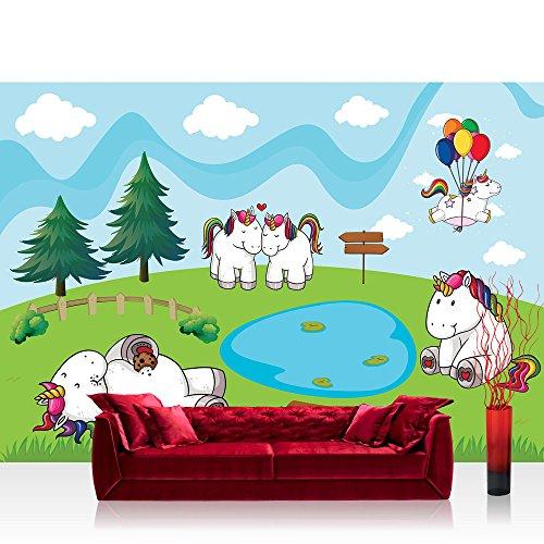 Vlies Fototapete 416x254 cm PREMIUM PLUS Wand Foto Tapete Wand Bild Vliestapete - Kinder Jugend Tapete Einhorn Pferd Tier Herz Liebe Regenbogen Ballons Wasser bunt - no. 4582 (Herz Jugend)