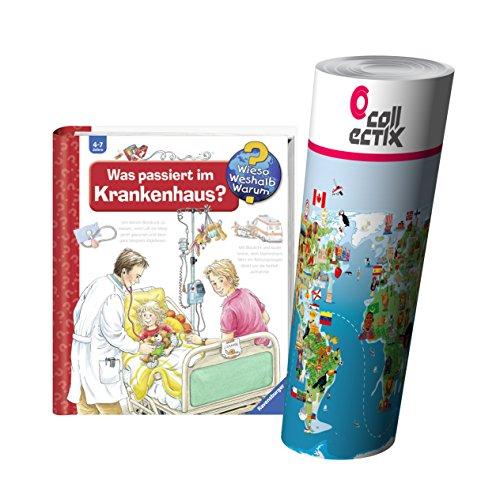 Ravensburger Kinder Sachbuch 4-7 Jahre | Was passiert im Krankenhaus? + Kinder Weltkarte Poster by Collectix