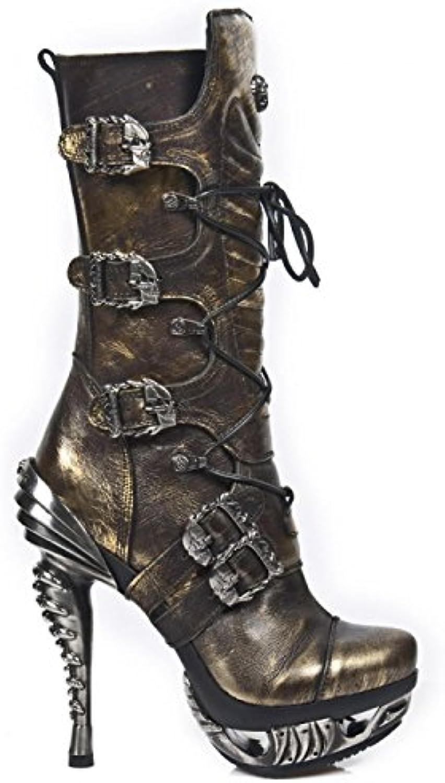 New Rock Boots M.MAG006-C3 Gothic Hardrock Punk Damen Schnürstiefel Gold