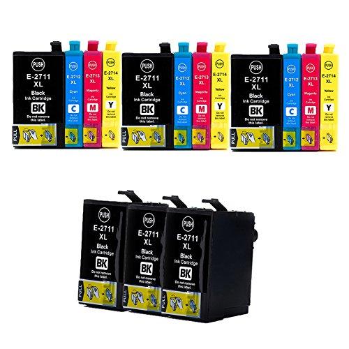 Teng 27XL - Cartucce d'inchiostro sostitutive per Epson 27 XL, per stampanti Epson Workforce WF 3620 WF 3640 WF 7610 WF 7620 WF 7110 WF 7715 WF 7720 WF 7210 (6 nero, 3 ciano, 3 magenta, 3 giallo)