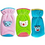 My NewBorn Baby's Feeding Bottle Covers with Attractive Cartoon Combo (Green, Pink and Sky, MN-Bottle-Cover-Suede-C3-Green-Pink-Sky)