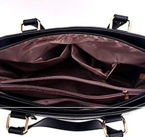 Frauen Schulterhandtaschen Mit Gesticktem Plum Top-Griff Taschen Für Damen Black