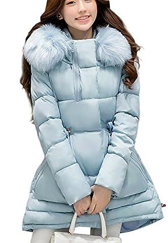OMZIN Frauen Winter Kugellange Kurze Länge Tasche Mantel Pelz Abnehmbare SKY BLUE S