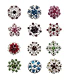 TOOKY 12pcs Mix Set Crystal Button Brooches Scarves Buckle Floriated Brooch Pin Rhinestone Corsage Bouquet Kit Wholesale Lot (color)