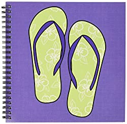 3dRose db_77534_1 Cute Flip Flops Lime Green Flower Print and Purple Drawing Book, 8 by 8