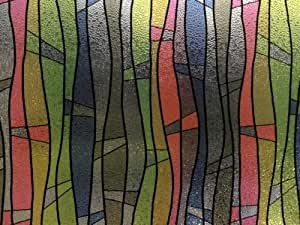 Premium Quality, REUSABLE, 3D Static Embosed Decorative Frosted Window Vinyl Film, (1m x 90cm) 3D Multicolour Waves Design by Decor&Privacy Solutions