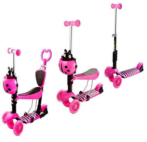 AIMADO 3-in-1Kids Kick Scooter mit Ride- und Mini-Scooter mit Abnehmbarem und Verstellbarem Sitz und Blinken Räder für Jungen und Mädchen, Alter 2–8, Kapazität: 110lbs, Rosa 1