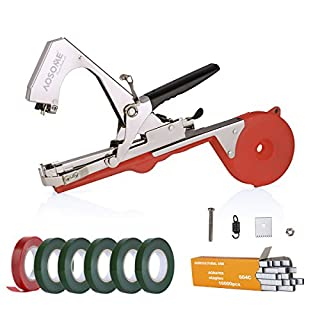 AOSOME Agriculture Plant Tying Tool, Tapener Tape Tool Hand Tying Machine for Flower Fruit Vegetable with Free 6 *Tapes & 1 *Staples
