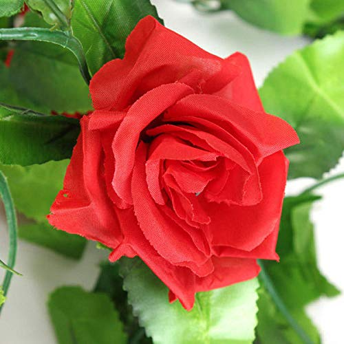 Anddod 2pcs Artificial Plastic Rose Flower Vines Garland Home Garden Decoration - Red - Garland Red Flower