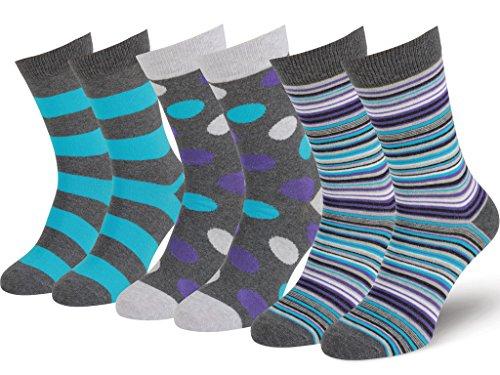 Easton Marlowe Men's 3 & 6 Pk Colorful Patterned Dress Socks, Made in Europe
