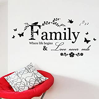 Brydon Decals 57*20cm Large Family Quote Wall Sayings Decal Family Where Life Begins & Love Never Ends Removable Wall Art Decor Wall Sticker Quotes- Black