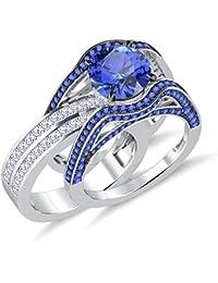 Silvernshine 5ct Princess&Round Tanzanite Sim Diamonds Interchangable Ring With Band White Gold PL