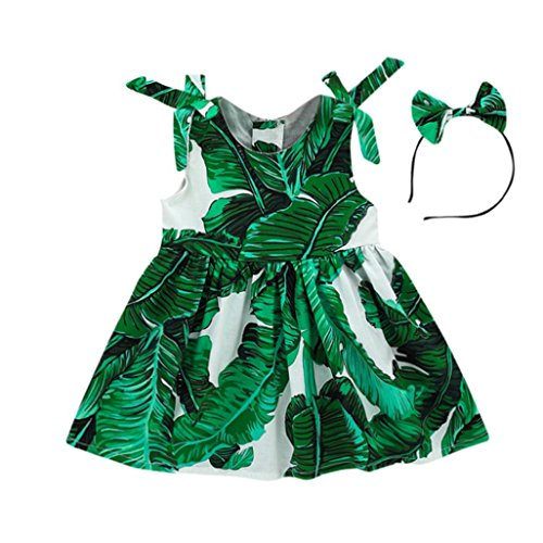 Yanhoo Kinderkleidung, Kleinkind Baby Mädchen Blatt Gedruckt Druck Bowknot Kleid +Stirnband Strandkleid Sundress Sommerkleider Knielang 1~4jahre (100, Grün)