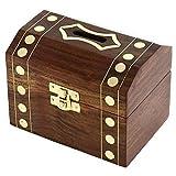 ShalinIndia Boîte en Bois fabriqués à la Main Treasure Chest Coffre Bureau de Piggy Bank 12,7 cm x 9 cm