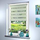 Doppelrollo nach Maß, hochqualitative Wertarbeit, alle Größen und 18 Farben verfügbar, Duo Rollo, Rollo nach Maß, für Fenster und Türen, Klemmfix ohne Bohren (100cm Höhe x 65cm Breite / Light Green)