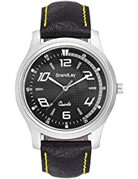 GRANDLAY MG-3056 BLACK DIAL WITH LEATHER STRAP WATCH FOR MENZ