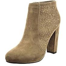 Sopily - Zapatillas de Moda Botines low boots Tobillo mujer strass Talón Tacón ancho alto 10 CM - Taupe