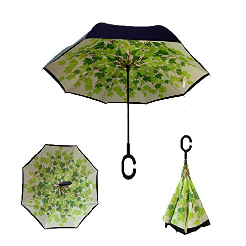 RAIN QUEEN Parapluie Canne Ouverture Inversé Double Toile Imprimé +C Poignée Grand Taille Dimension 105cm pour 2 personnes (Feuille)