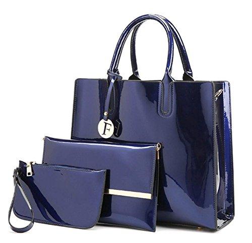 Frauen-Lackleder-Handtasche Dreiteilige Europäische Und US-Damen-Mappen-Schulterbeutel Kurierbeutel Blue