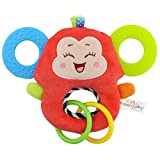 Baby Kleinkindspielzeug Stoffspielzeug Beißring Hand Rasseln Süße Tiere Klingel ab 2 Monate Geschenk,Affe