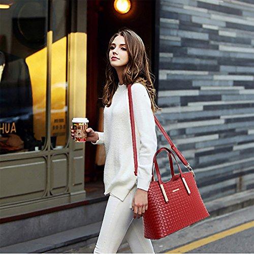 Sunas 2017 nuovo Simple Femminile Borsa a mano Moda Set di 3 borse Borsa a mano + Borsa messenger + Purse vino rosso