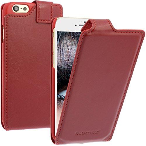 """Echtleder Flip-Case Leder-Case iPhone 6/6s mit Magnet 4,7"""" Handytasche Slim Farbe Vintage-Rot Leder-Hülle Smartphone-Case Schutzhülle Klappetui"""