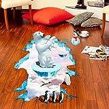 Aizaixinli 3D Eisbär Pinguin Boden Aufkleber Kinderzimmer Aufkleber Dekoration Landschaft Gefälschte Fenster Aufkleber Wandaufkleber Dekoration 94 * 57 Cm