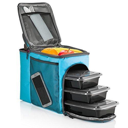 Hemingweigh borsa per il pranzo pacchetto per il pranzo durevole con scomparto per bevande isolato. tracolla rimovibile + 3 contenitori alimentari in plastica + ice pack. (turchese tropicale) blau