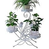 Blumenständer für 3 Blumentöpfe, 3 Etagen, dekoratives Design, Metall, Garten/Terrasse (Weiß)