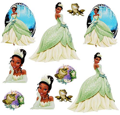 """10 tlg. Set _ Wandtattoo / Sticker - """" Disney Küss den Frosch / Prinzessin Tiana """" - Wandsticker - Aufkleber für Kinderzimmer - selbstklebend + wiederverwendbar - Kinder - Mädchen / Märchen Princess - Froschkönig - Kinder - Wandaufkleber - Postersticker - Deko - Poster - Tattoo"""