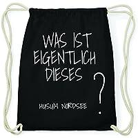 f26eb8927544c JOllify HUSUM NORDSEE Hipster Turnbeutel Tasche Rucksack aus Baumwolle -  Farbe  schwarz