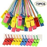 FEPITO 72 sifflets en Plastique colorés, sifflet de l'entraîneur avec Cordons pour Les événements Sportifs, Dressage de Chiens
