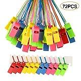 FEPITO 72 Pcs fischietti colorati in plastica, fischietto da allenatore con cordini per eventi sportivi, addestramento per cani