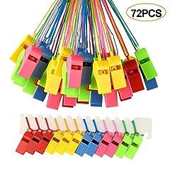 Idea Regalo - FEPITO 72 PCS fischietti Colorati in plastica, Fischietto da Allenatore con cordini per Eventi Sportivi, addestramento per Cani
